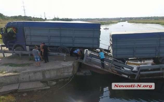 НаНиколаевщине многострадальный мост вПересадовке снова подтопила фура