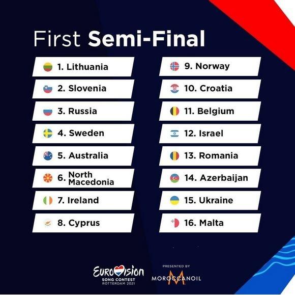 Евровидения-2021, первый полуфинал
